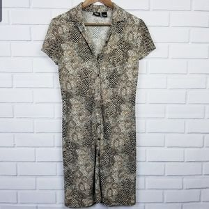 Snake Skin Button Up Maxi Dress Size 8